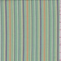 Jade/Buff/Purple Embroidered Stripe Cotton